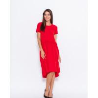 Красное асимметричное платье с рюшами