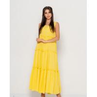 Желтый свободный длинный сарафан с рюшами