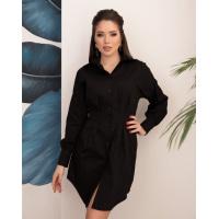 Черное хлопковое приталенное платье-рубашка