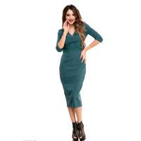 Зеленое платье-миди с высокой талией и кружевом под грудью