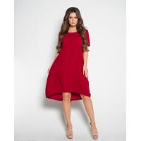 Бордовое свободное платье с короткими рукавами