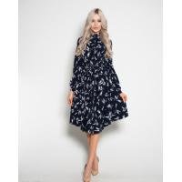 Темно-синее платье с принтом и длинными рукавами