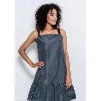 Серое коттоновое короткое платье-сарафан в полоску с воланом по низу и шлейками