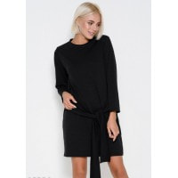 Черное прямое платье на завязках с длинными рукавами