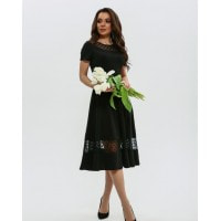 Черное нарядное платье с сетчатой вставкой