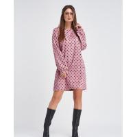 Розовое вельветовое платье в горошек