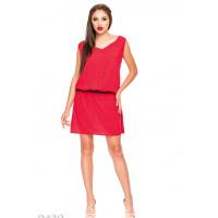 Свободное красное платье в горошек без рукавов с заниженной талией