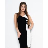 Черно-белое платье без рукавов со шнуровкой