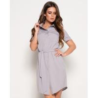 Серое платье-рубашка с поясом и карманом