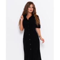 Черное приталенное платье-рубашка с карманами