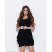 Черное шифоновое платье с драпировкой