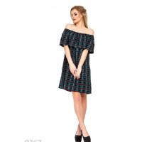 Черное клетчатое платье с широким отворотом