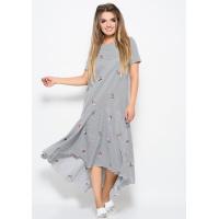 Черно-белое полосатое платье из коттона прямого кроя и асимметричной юбкой