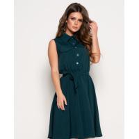 Темно-зеленое платье без рукавов с воротником