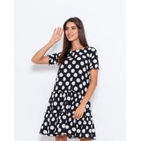 Черное в крупный белый горошек платье-трапеция