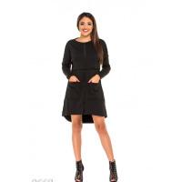 Черное платье-трапеция с меховой изнанкой и крупными карманами