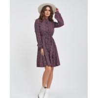 Цветочное свободное платье-рубашка с пояском