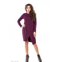 Фиолетовое свободное платье до колен с имитацией запаха