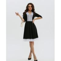 Черное классическое платье с кружевом