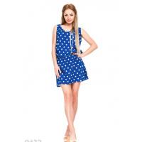 Свободное ярко-синее платье в крупный горох без рукавов с заниженной талией