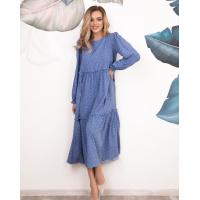 Синее в горошек платье-трапеция с рюшами