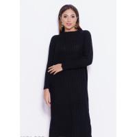 Черное однотонное вязаное длинное платье