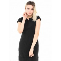 Черное повседневное облегающее платье с короткими рукавами