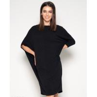 Черное фактурное асимметричное платье