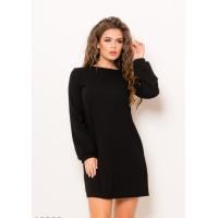 Черное однотонное прямое платье с длинными свободными рукавами