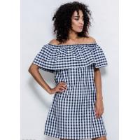 Черно-белое коттоновое короткое платье свободного кроя со спущенными плечами