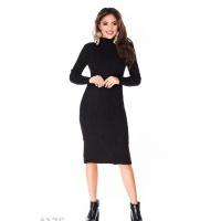 Черное полуоблегающее платье миди с двумя карманами