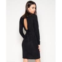 Черное фактурное платье с вырезом на спине