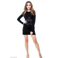 Черное платье-трапеция с аппликацией стразами и металлической фурнитурой