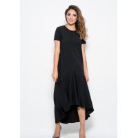 Черное платье из софта прямого кроя с асимметричной юбкой