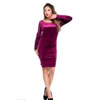 Фиолетовое велюровое платье с перекрестьем на спине