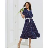 Темно-синее приталенное платье с цветным горошком