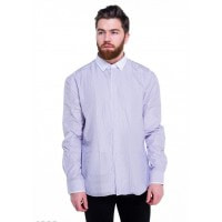 Сиреневая мужская рубашка в тонкую вертикальную полоску со светлым воротником
