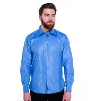 Синяя мужская рубашка из полированного хлопка