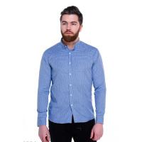 Ярко-синяя мужская рубашка в мелкую клетку Виши