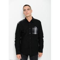 Черная рубашка из плотного коттона с длиными рукавами и клетчатыми вставками