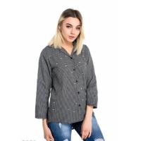 Черная свободная женская рубашка в мелкую клетку с бусинами