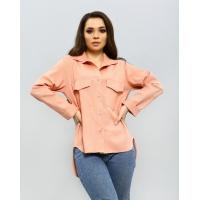 Розовая льняная рубашка с удлиненной спинкой