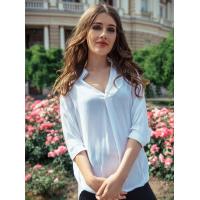 Свободная хлопковая асимметричная рубашка белого цвета
