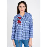 Ярко-синяя рубашка в мелкую клетку виши с цветочной вышивкой