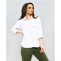 Белая льняная рубашка с удлиненной спинкой