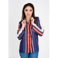 Темно-синяя в оранжевую полоску рубашка с бусинами