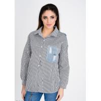 Черная рубашка в диагональную полосу с джинсовыми вставками