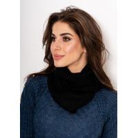 Черный фактурный вязаный шарф-хомут