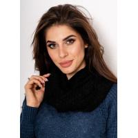 Черный однотонный шарф-хомут декоративной вязки