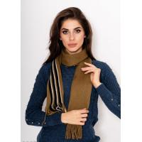 Шерстяной вязаный шарф цвета хаки с черно-белыми полосками и бахромой